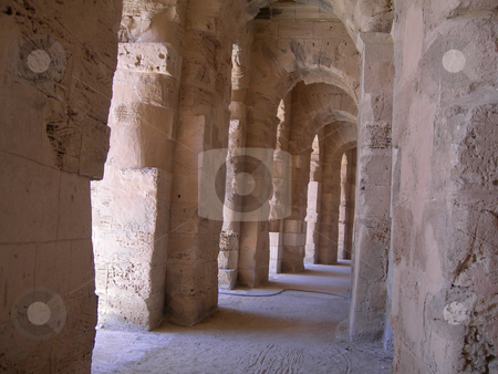 Colosseum of tunisia stock photo, Roman colosseum of tunisia ancient landmarks of africa by EVANGELOS THOMAIDIS