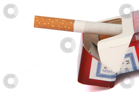 Cigarette pack stock photo, Open cigarette pack with clipping path isolated by EVANGELOS THOMAIDIS