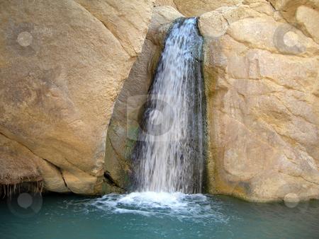 Waterfall in Oasis stock photo, Waterfall in Oasis between the rocks tunisia africa by EVANGELOS THOMAIDIS