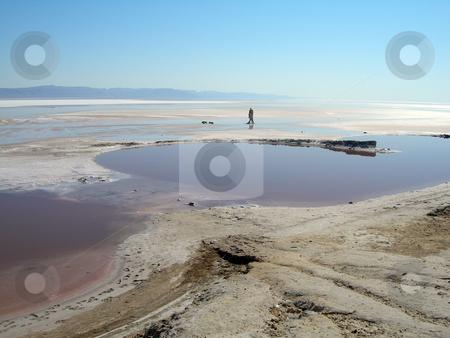 Lake and blue sky stock photo, Red salt lake and blue sky landmarks of tunisia africa by EVANGELOS THOMAIDIS