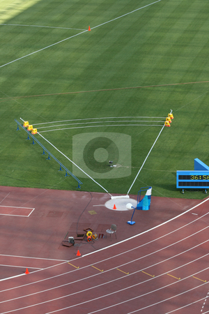 Shot Put stock photo, Shot Put field and track lanes empty detail from stadium by EVANGELOS THOMAIDIS