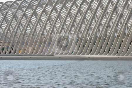 Water at agora stock photo, Detail from modern metallic stucture of agora olympic stadium athens greece by EVANGELOS THOMAIDIS