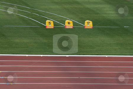 Athletics field stock photo, Detail from empty athletics race track and field by EVANGELOS THOMAIDIS
