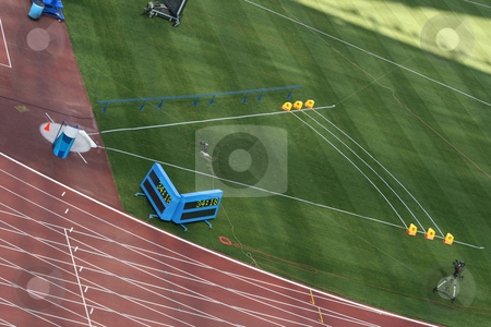Shot put field  stock photo, Shot Put field and track lanes empty detail from stadium by EVANGELOS THOMAIDIS