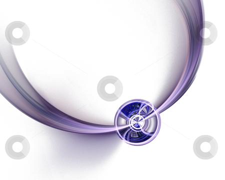 Fractal wheel stock photo, Round shape on fractal wave with white copy-space by Natalia Macheda
