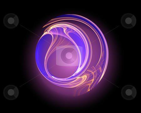 Round logo shape stock photo, Abstract fractal glowing shape with copy-space useful for logotype by Natalia Macheda