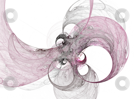 Ink flora stock photo, Fractal illustration of ink floral bubbles by Natalia Macheda