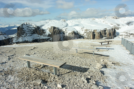 Benches in Dolomites stock photo, Benches to sit on and to observe the beautiful range of Dolomites by Natalia Macheda