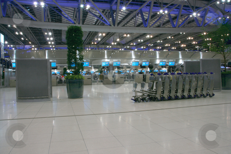 Airport trolley stock photo, Airport trolley night shut at bangkok new airport suvarnabhummi by EVANGELOS THOMAIDIS
