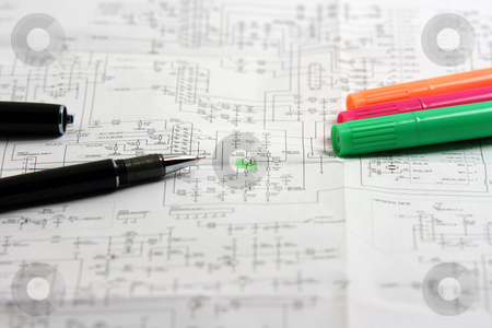 Circuit stock photo, Checking the circuit documents of electronic device by EVANGELOS THOMAIDIS