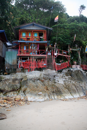 Hippy resort stock photo, Hippy resort on the rocks koh chang island thailand by EVANGELOS THOMAIDIS