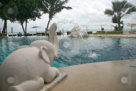 Elephant fountain at the pool stock photo, Elephant fountain at the pool by EVANGELOS THOMAIDIS