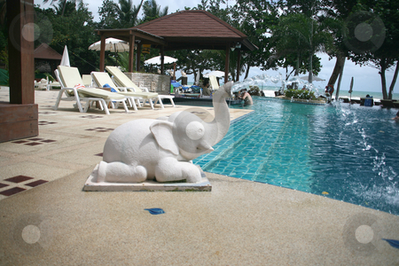 Pool fountain stock photo, Pool elephant fountain at hotel by EVANGELOS THOMAIDIS