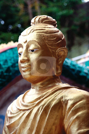 Monk statue stock photo, Golden monk statue at big buddha temple samui island thailand by EVANGELOS THOMAIDIS