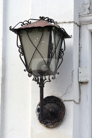 Street lamp 2 stock photo, Old classic street arm lamp by EVANGELOS THOMAIDIS