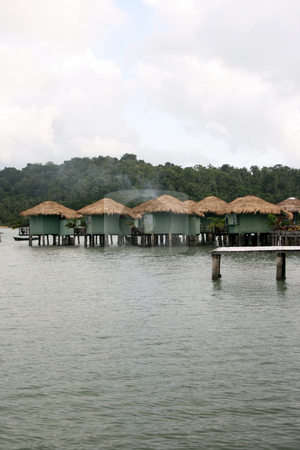 Floating bungalows stock photo, Floating resort over the sea in koh chang island thailand by EVANGELOS THOMAIDIS