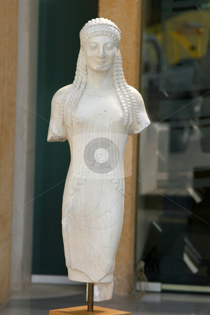 Greek scuplture stock photo, Ancient greek sculpture of woman replica by EVANGELOS THOMAIDIS