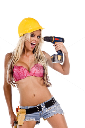 Stripper Construction Worker stock photo, High fashion glamour model in daisy duke shorts, tool belt, pink bra and yellow hard hat on a ladder with a screw gun by Robert Deal