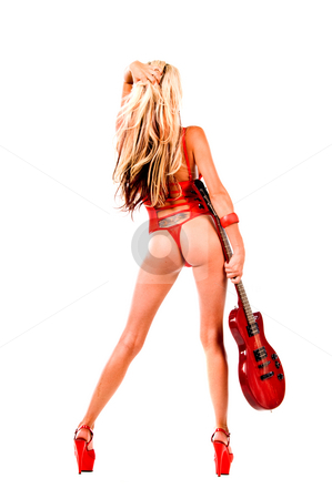 Rock N Roll blonde Lingerie stock photo, Rear facing view of a sexy young blonde lingerie model in a red one piece and red high heels with a red Les Paul style electric guitar by Robert Deal