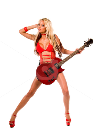 Lingerie model with red electric guitar stock photo, Sexy young blonde lingerie model in a red one piece and red high heels with a red Les Paul style electric guitar by Robert Deal