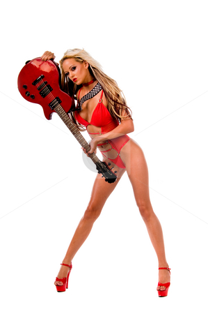 Rock N Roll girl in red lingerie stock photo, Blonde lingerie model in a red one piece and red high heels with a red Les Paul style electric guitar by Robert Deal
