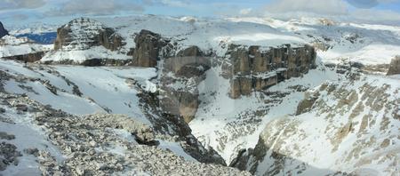Dolomites panorama stock photo, Panorama of Dolomites range (Mt. Marmolada) near Canazei, Italy. Vie from the point 300m over the sea level by Natalia Macheda