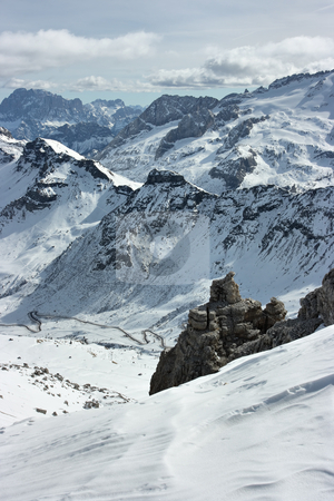 Dolomites range stock photo, View on Dolomites peaks from the point of 3000m over sea level by Natalia Macheda