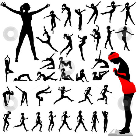 Fitness Women Calisthenics Aerobics Dance stock vector clipart, Set of women exercise, do aerobics, calisthenics, dance, run, walk in a group of silhouettes. by Michael Brown