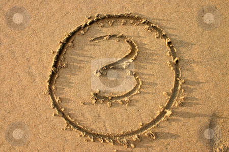 The number 3 written on the beach.  Part of a countdown series. stock photo, The number 3 written on the beach.  Part of a countdown series. by Stephen Rees