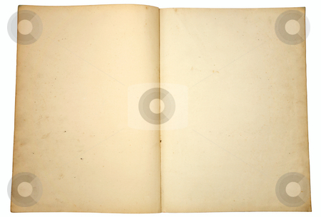 Blank yellowing paper pages from a vintage book. stock photo, Blank yellowing paper pages from a vintage book. by Stephen Rees