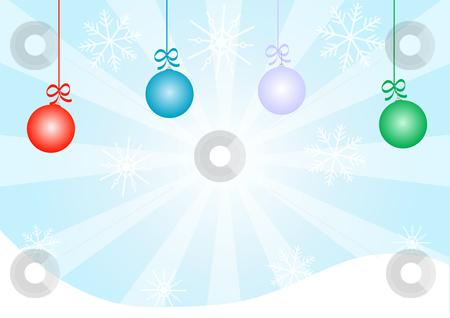 Christmas background Vector stock vector clipart, Christmas background Vector with Ornaments and Snow Flakes by John Teeter