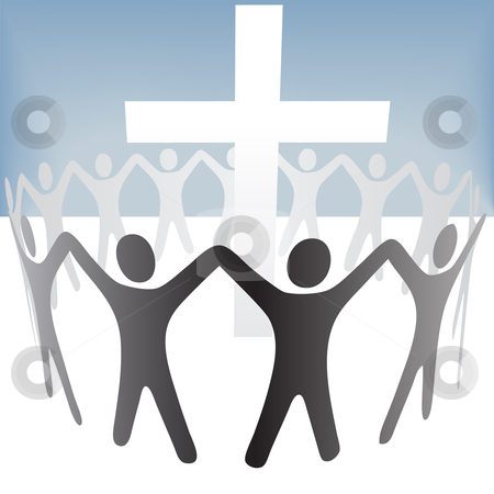 People Circle Hold Up Hands Gather Around a Cross stock vector clipart, A group of people circle around a cross, hold up their hands. by Michael Brown