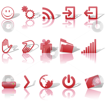 Web Red Icons Set Shadows & Relections on White 2 stock vector clipart, Red Icon Symbol Set 2: Printer; Gears; Chart; Earth; People; RSS; etc. On white with shadows & reflections. by Michael Brown