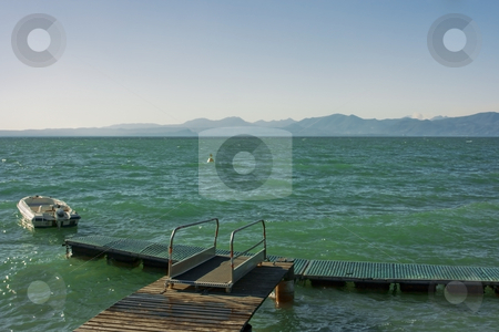 Lago di Garda stock photo, Beautiful view on Garda lake with mountains on horizon by Natalia Macheda