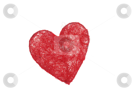 Heart in net stock photo, Wireframe of heart wickered with red thread, isolated over white. Concept of heart caught in net by Natalia Macheda