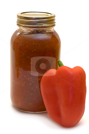 Spicy Salsa stock photo, A jar of homemade salsa shot on a white background by Richard Nelson