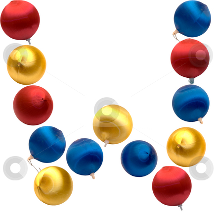 Letter W stock photo, The letter w spelled using Christmas balls, isolated on a white background by Richard Nelson
