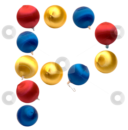 Letter P stock photo, The letter p spelled using Christmas balls, isolated on a white background by Richard Nelson