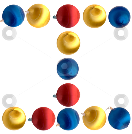 Letter I stock photo, The letter i spelled using Christmas balls, isolated on a white background by Richard Nelson