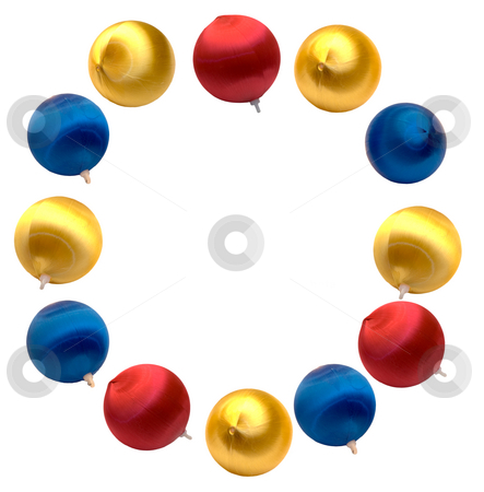 Letter O stock photo, The letter o spelled using Christmas balls, isolated on a white background by Richard Nelson