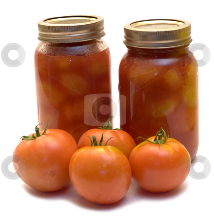Canned Tomatoes stock photo, Fresh canned tomatoes in two mason jars by Richard Nelson