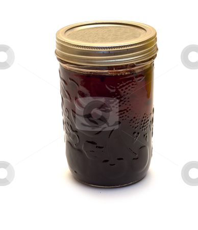 Blueberry Jam stock photo, A jar of homemade blueberry jam, isolated on a white background by Richard Nelson