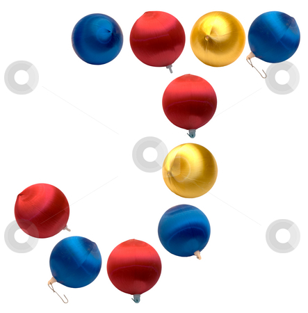 Letter J stock photo, The letter j spelled using Christmas balls, isolated on a white background by Richard Nelson
