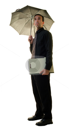 Businessman With Umbrella stock photo, A young businessman holding an umbrella and a folder, isolated on a white background by Richard Nelson