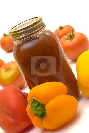 Salsa stock photo, Spicy salsa made with lots of peppers by Richard Nelson