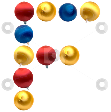 Letter F stock photo, The letter f spelled using Christmas balls, isolated on a white background by Richard Nelson