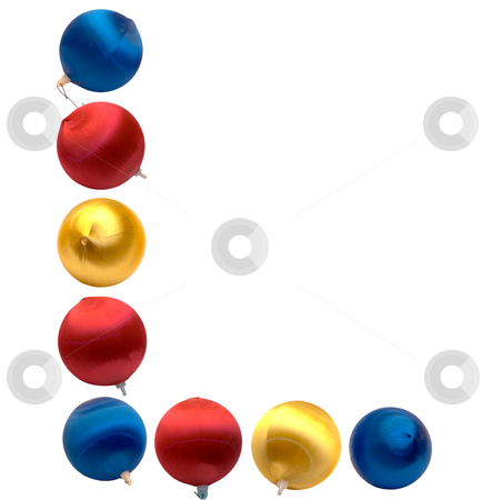 Letter L stock photo, The letter l spelled using Christmas balls, isolated on a white background by Richard Nelson