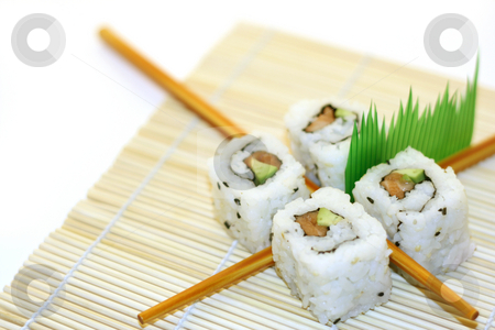 Sushi rolls structured over white stock photo 4 rolls of sushi in a