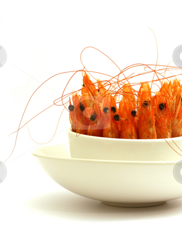 Shrimps in a bowl stock photo, Tiny bowl full of shrimps, antenna and head in the air, isolated on white by Laurent Renault