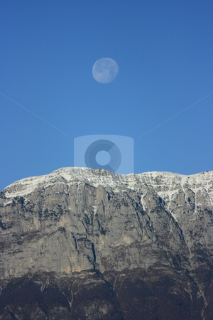 Mountain&moon stock photo, Alpine chain under the full moon in the morning by Natalia Macheda